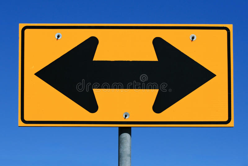 Download Two sided arrow road sign stock photo. Image of traffic - 16764542
