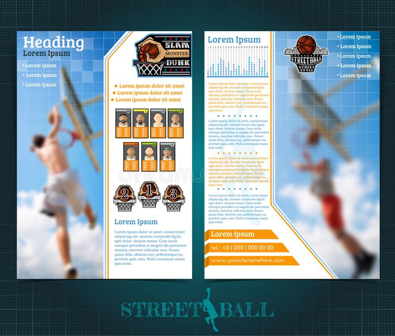 Two sided basketball brochure or flyer, streetball slam dunk competition template design with players and prize place. Mock-up cover vector sport style vector illustration