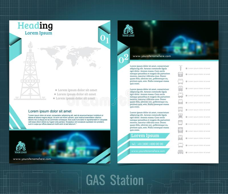 Two sided business brochure or flyer, gas station infographic, abstract diagrams and transport. With blurred photo vector illustration