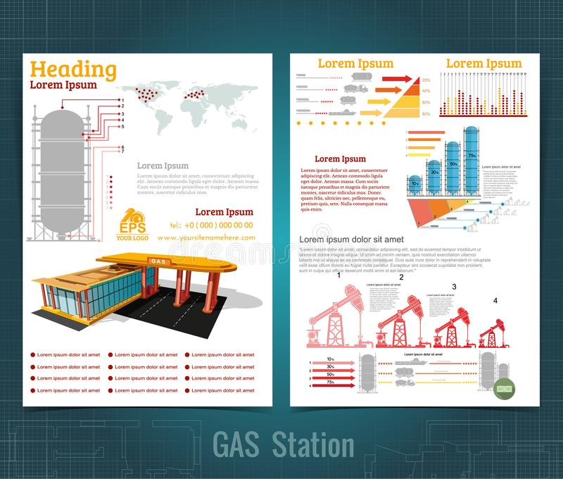 Two sided business brochure or flyer, gas station infographic realistic gas station with abstract diagrams. And transport royalty free illustration