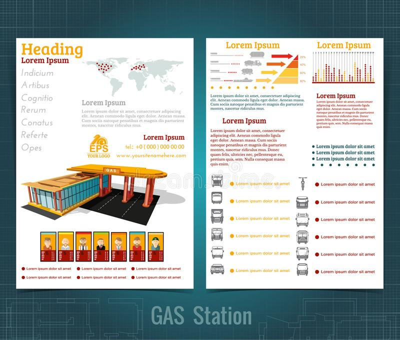 Two sided business brochure or flyer, gas station infographic realistic gas station with abstract diagrams. And transport stock illustration