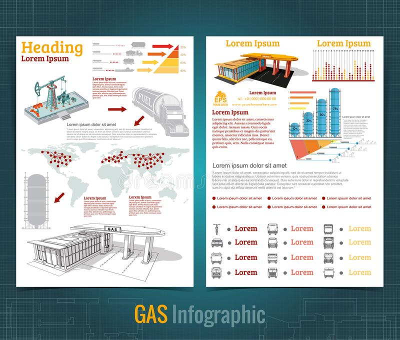 Two sided business brochure or flyer, sketch gas station infographic realistic gas station with abstract diagrams. And transport vector illustration