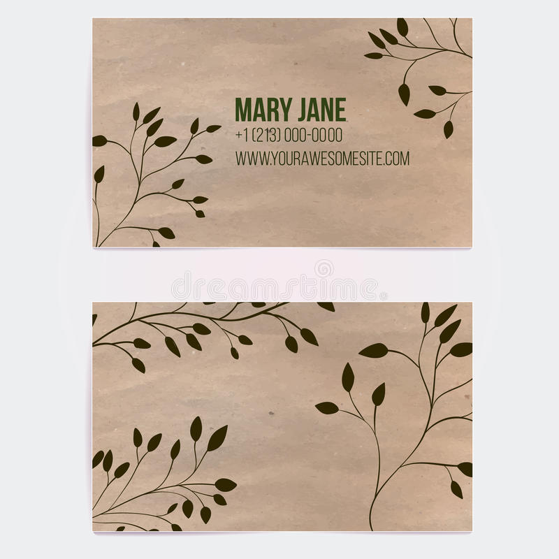 Two sided business card for natural cosmetics vector illustration