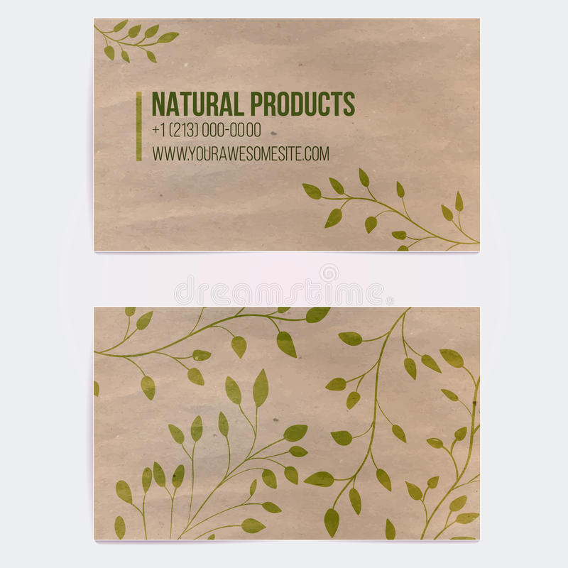 Two sided business card for natural cosmetics royalty free illustration