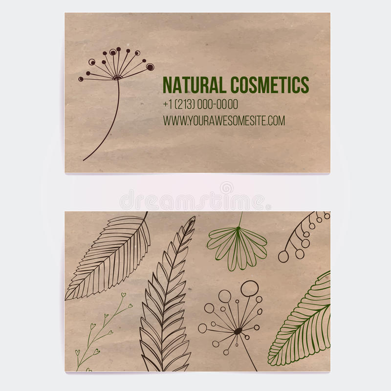 two sided business card for natural cosmetics stock vector