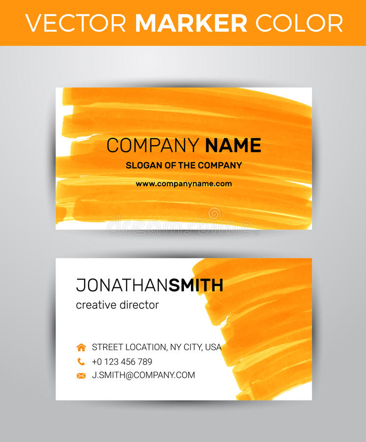 two sided business card template orange paint strokes markers