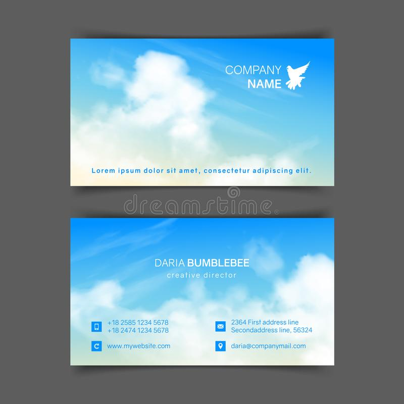 Two-sided horizontal business cards with realistic beige-blue sky vector illustration