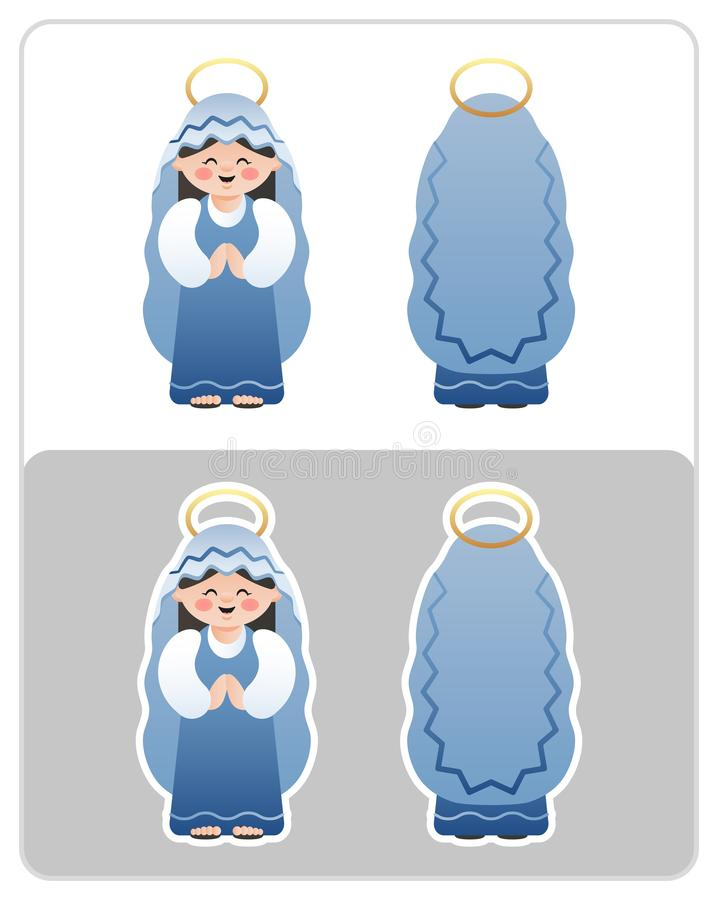 Two Sided Nativity icon and sticker of the Virgin Mary. royalty free illustration