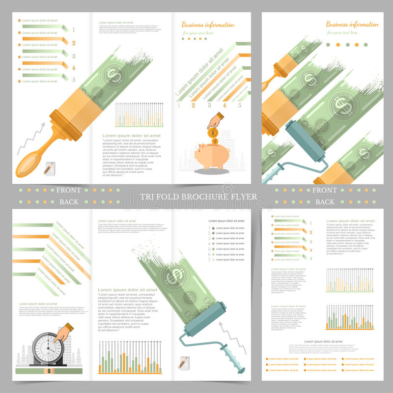 Two sides of business tri fold and flyer. Infographics elements in modern flat concept business style. Use for marketing, flyer vector illustration