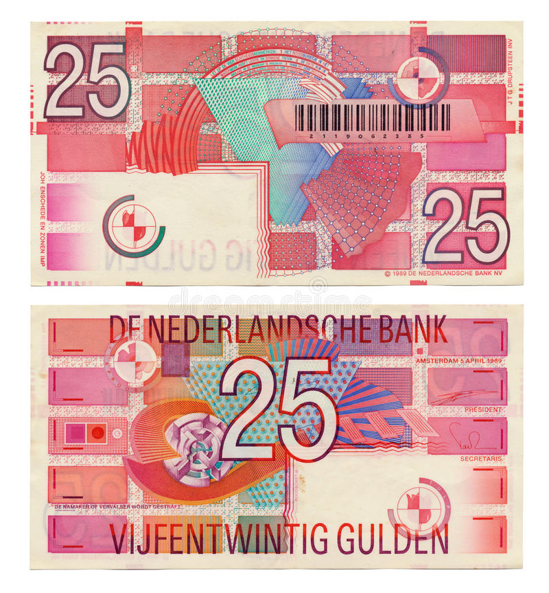 Download Discontinued Dutch Money - 25 Gulden Stock Image - Image: 29803465