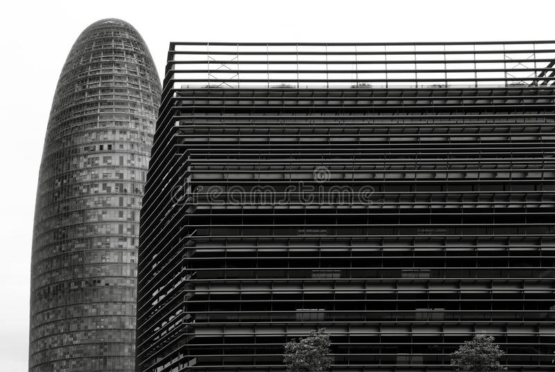 Two sides. Shot in black and white, a different view of this two modern building set at the district 22@ Diagonal, set Barcelona, Catalunya, Catalonia, España stock photo