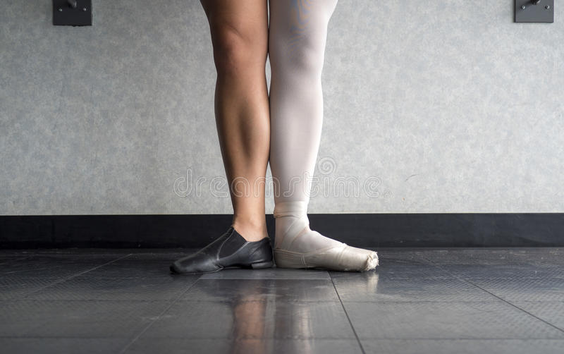 Two sides to a dancer- the Ballerina and the jazz dancer royalty free stock photos