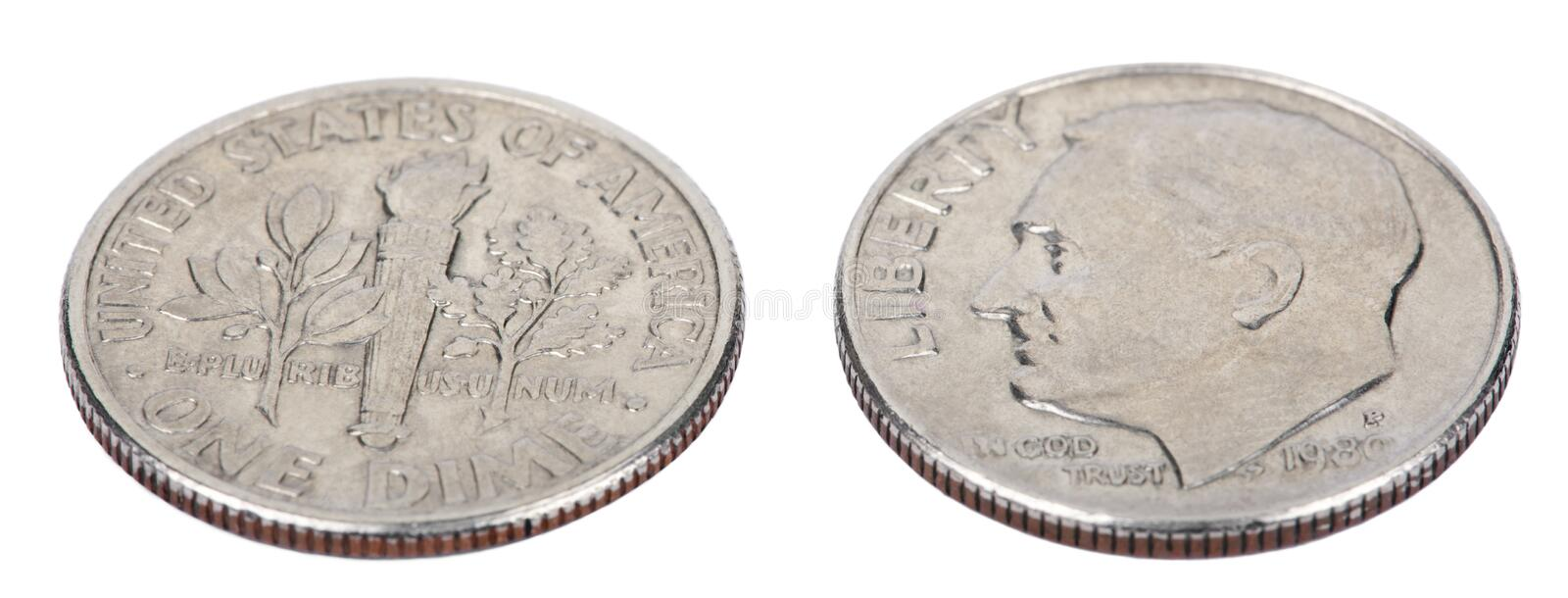 Isolated Dime - Both Sides High Angle royalty free stock photo