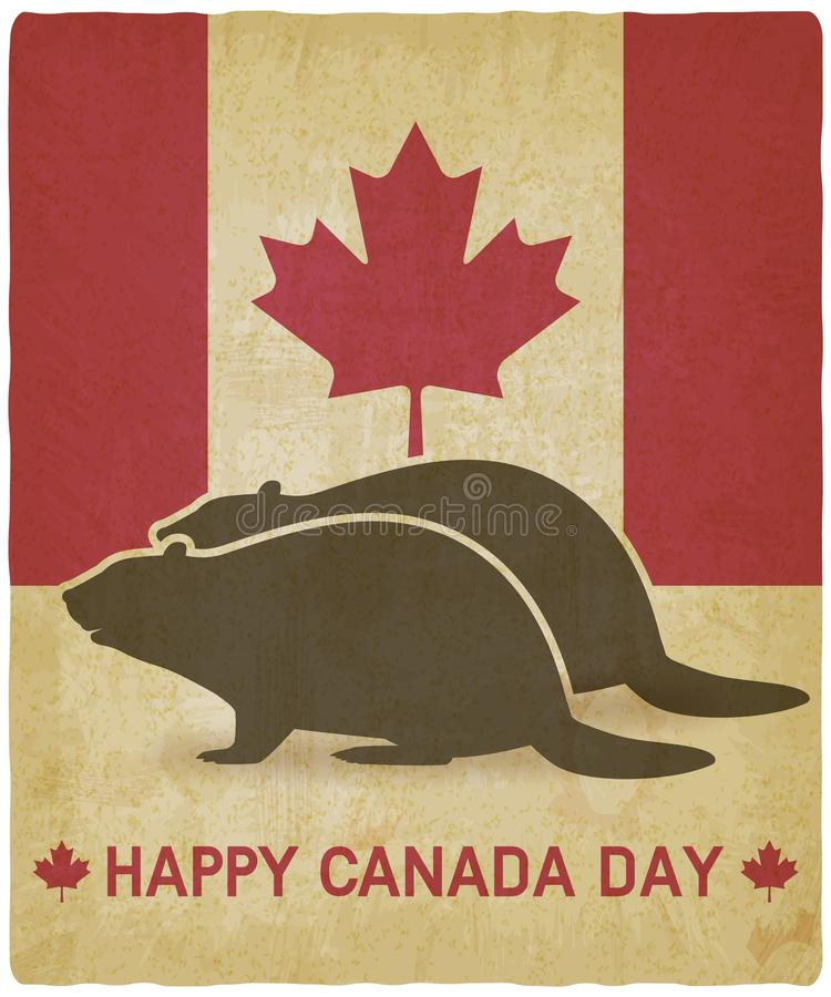 Two silhouettes of beaver on canadian flag background royalty free illustration