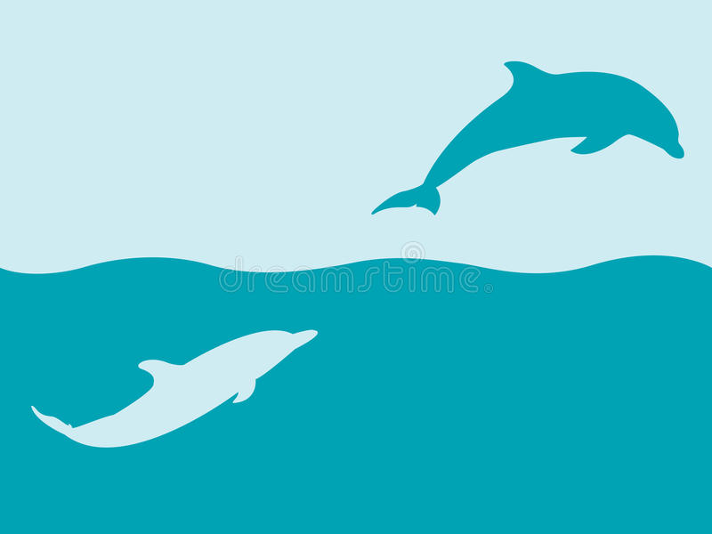 Two silhouettes of dolphins playing in water stock image