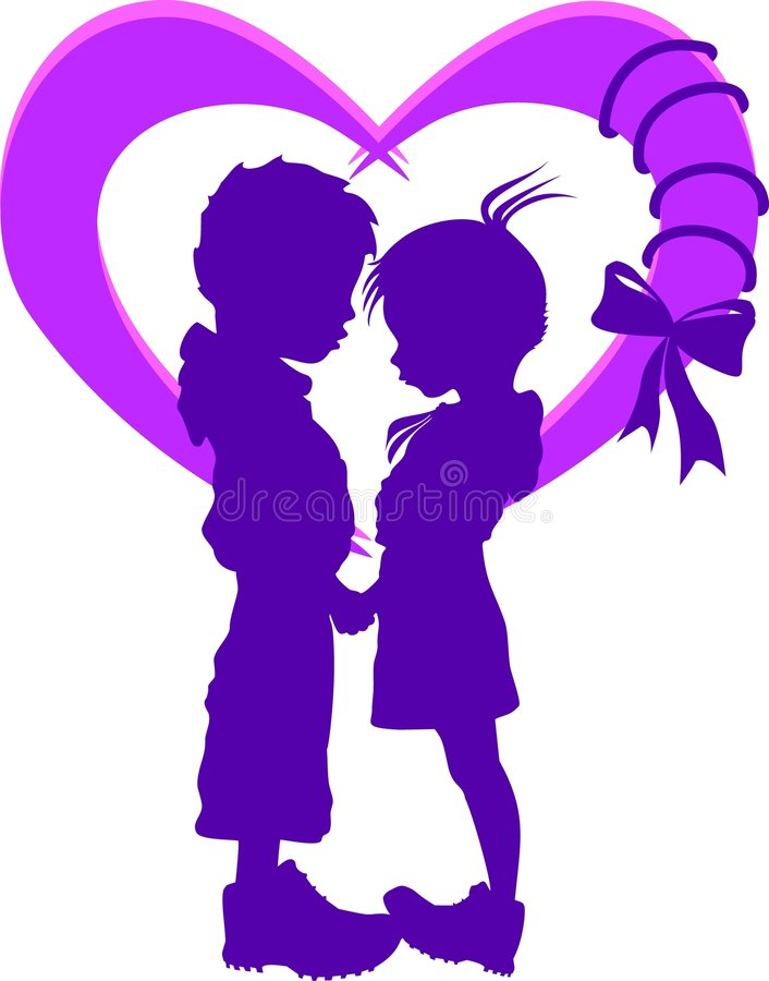 Two silhouettes in the heart royalty free stock image