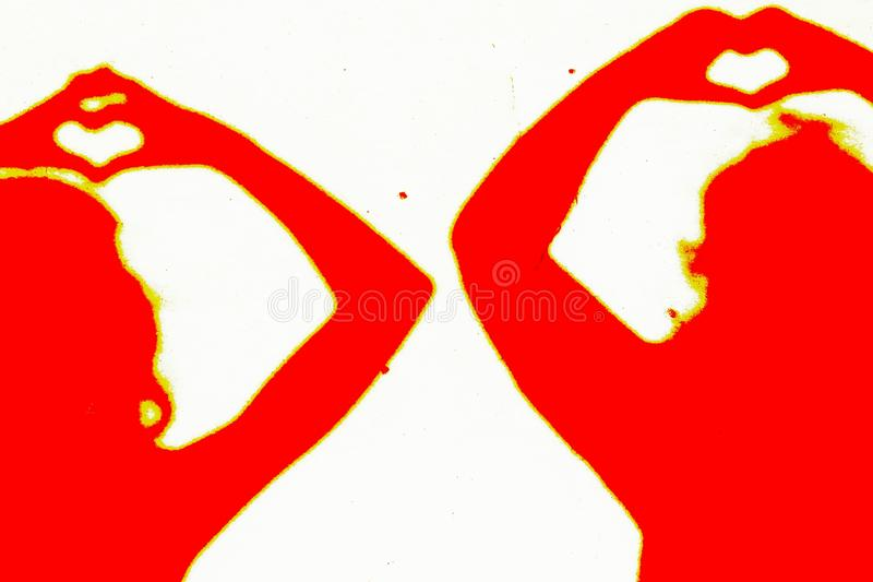 Two silhouettes of people in red making a love sign. Two female silhouettes of people in red making a love sign vector illustration