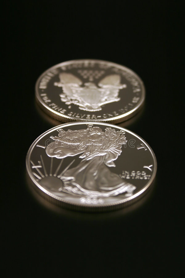 Two Silver Dollars royalty free stock photography