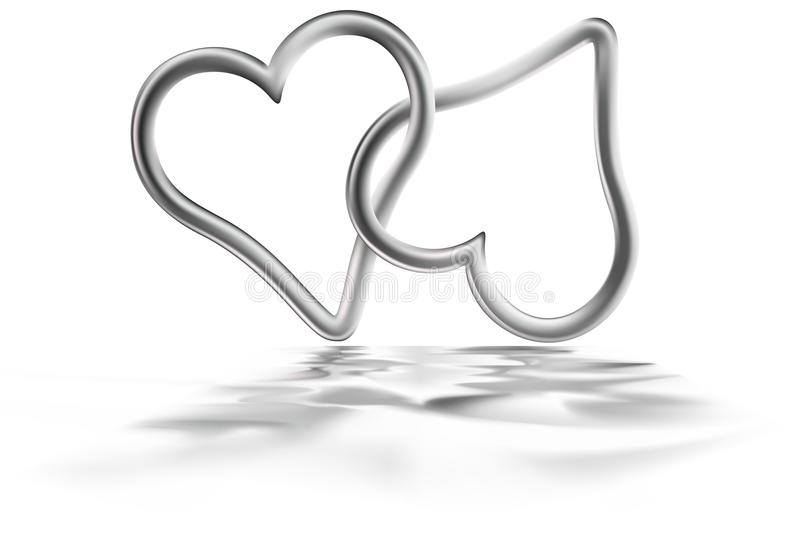 Two Silver Hearts. Colored illustration vector illustration