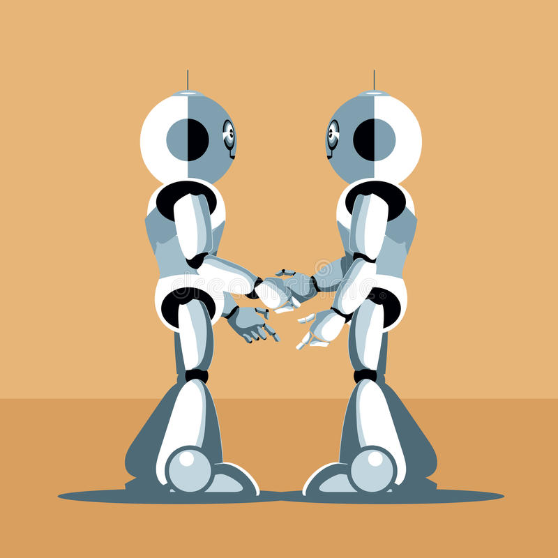 Two silver humanoid robots shaking hands stock illustration
