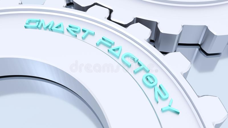 Two silver metal gears smart factory industry 4 concept stock illustration