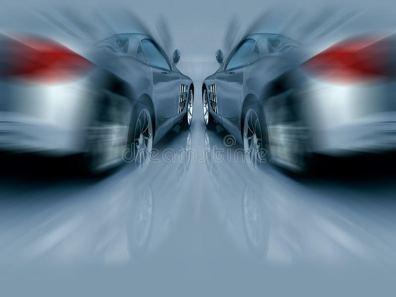 Two Silver Sports Cars in motion royalty free illustration