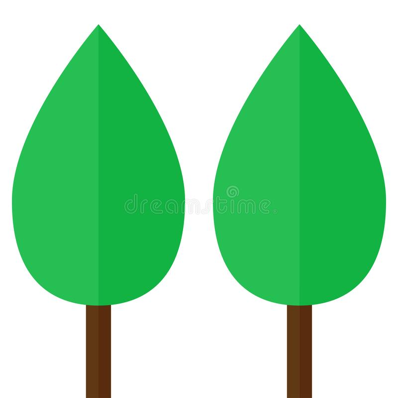 two simple trees emblem stock illustration