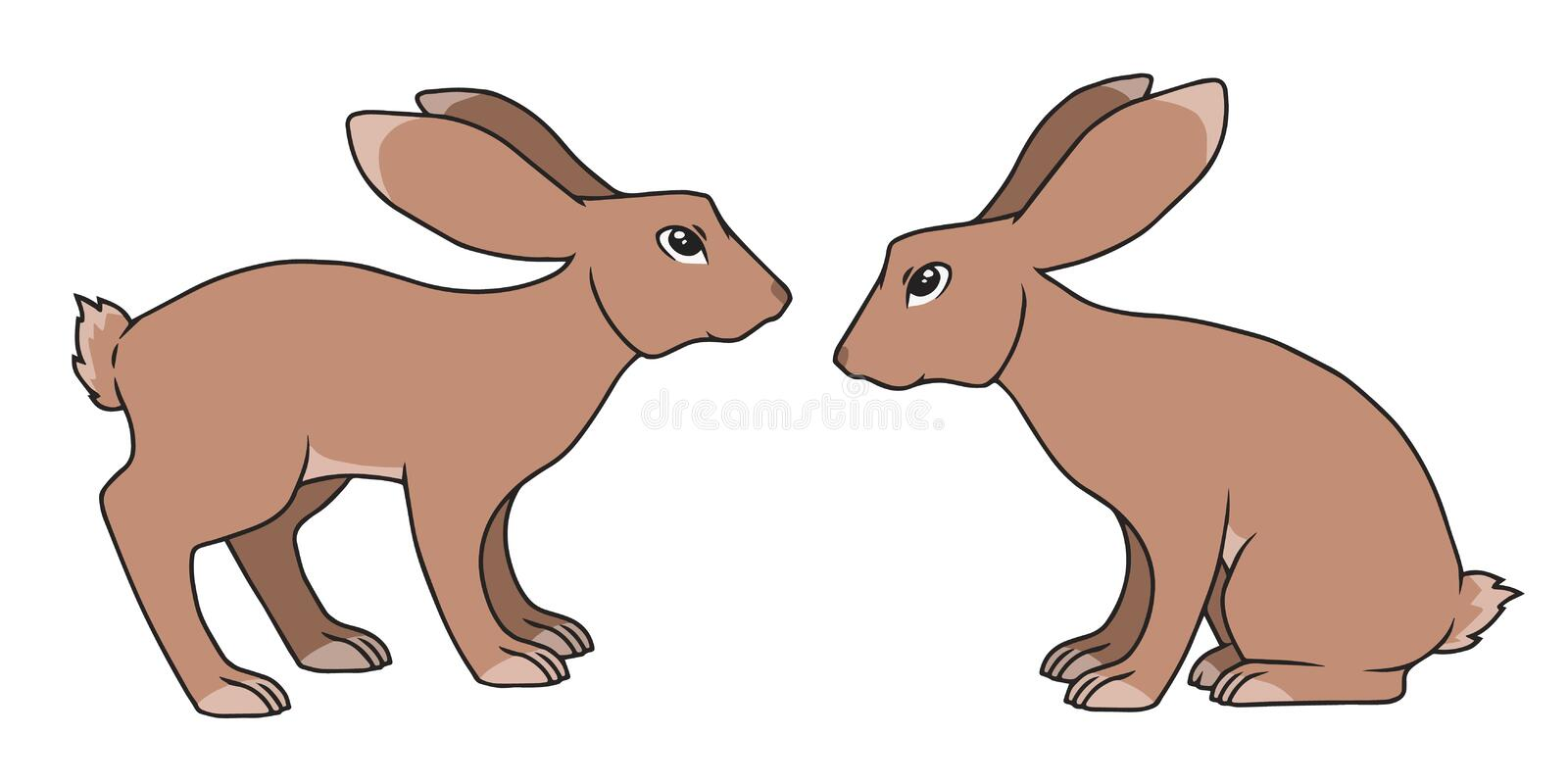 Two simple vector cartoon style standing and sitting brown rabbit drawings stock illustration