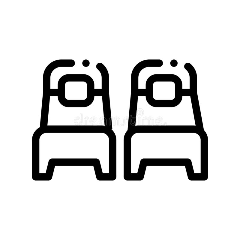 Two Single Place Beds Vector Sign Thin Line Icon. Bedroom Beds For Persons, Hotel Performance Of Service Equipment Linear Pictogram. Business Hostel Items vector illustration