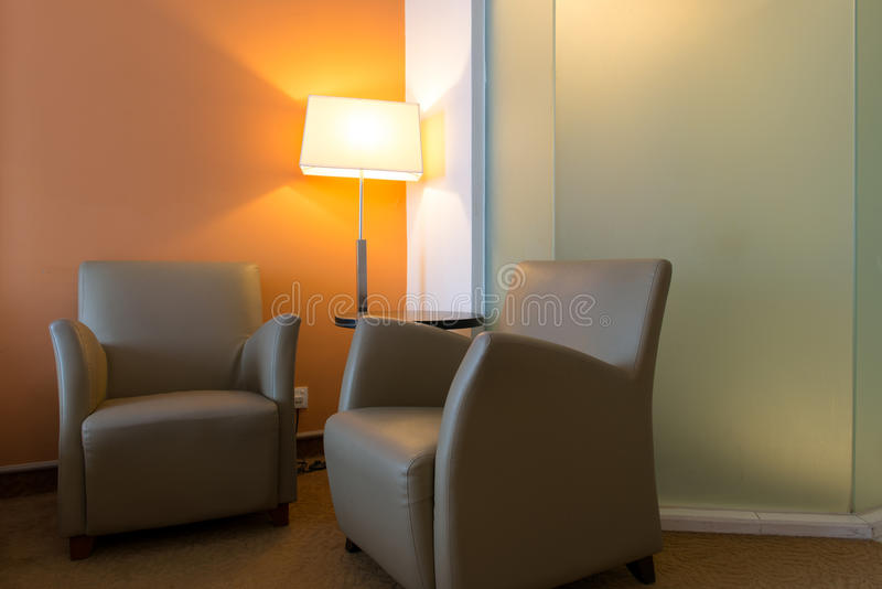 Two single sofa in bedroom. Two single sofa at the corner in bedroom royalty free stock images