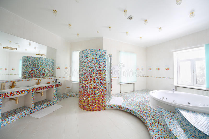 Two Sinks And Jacuzzi With Stairs In Bathroom. Stock Image - Image ...