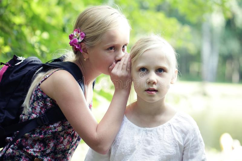 Two Sister Girls Whisper In Ear outdoors. Concept of joke, secret, fantasy, conversation, whisper. Surprise. Emotion of happiness.  royalty free stock images