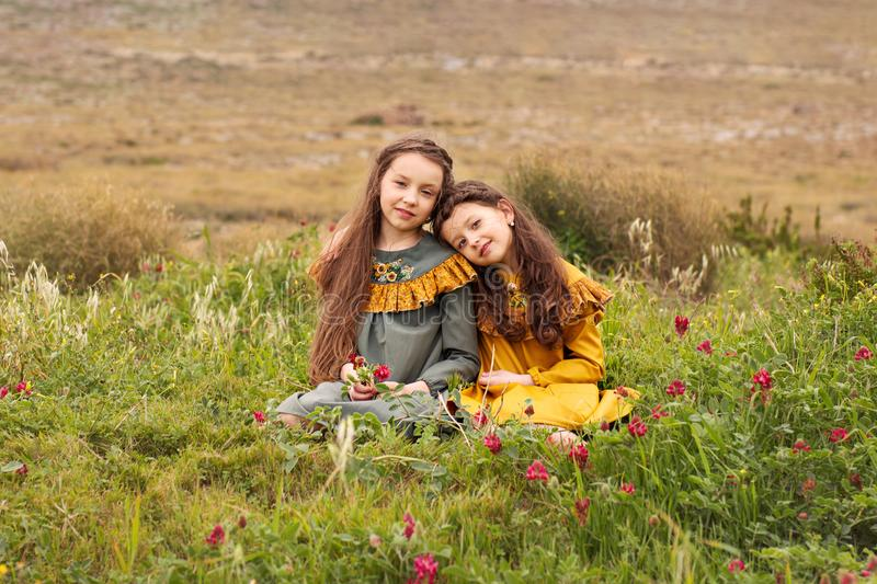 Two sisters girlfriends in retro dresses are sitting head bowed to each other on the shoulder on the grass with flowers. Two sisters friends in retro dresses are stock images