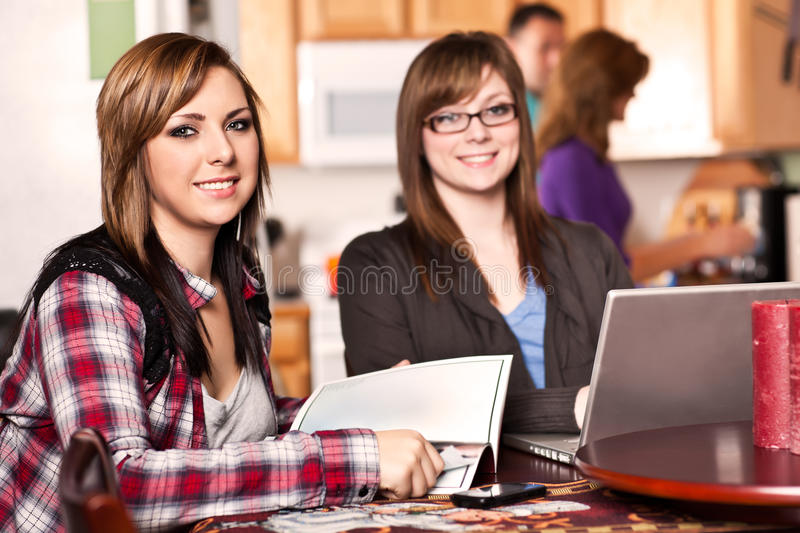 Two sisters at home stock photography