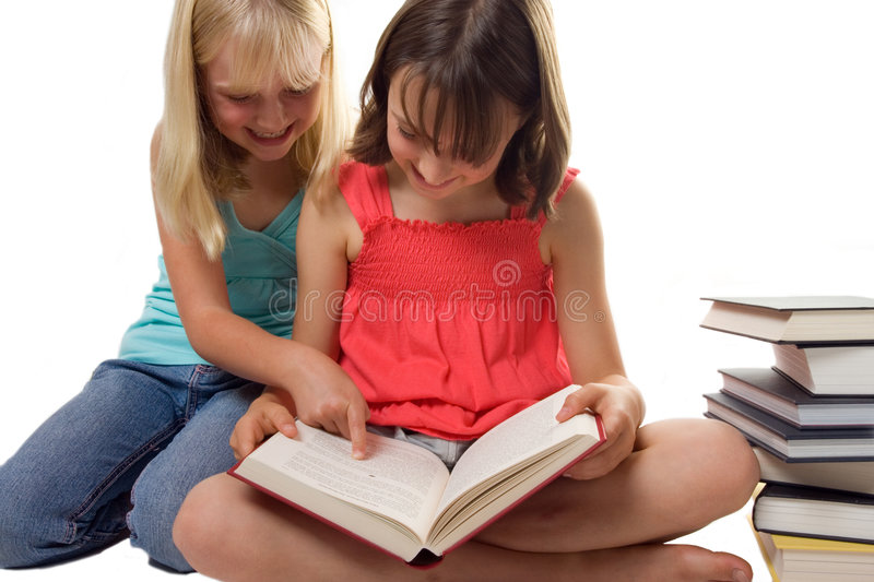 Two Sisters Reading royalty free stock photo