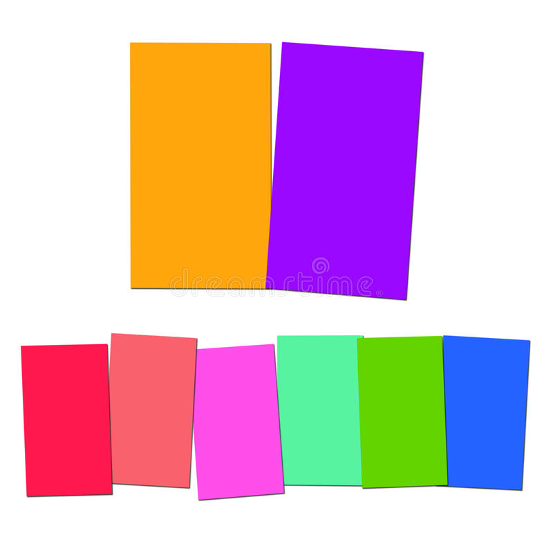 Two And Six Blank Paper Slips Show Copyspace For 2 Or 6 Letter W. Two And Six Blank Paper Slips Showing Copyspace For 2 Or 6 Letter Words vector illustration