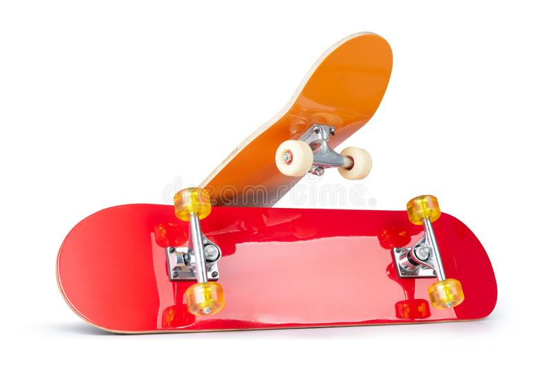 Two skateboard decks,  on white background. File contains a path to isolation.  stock photography