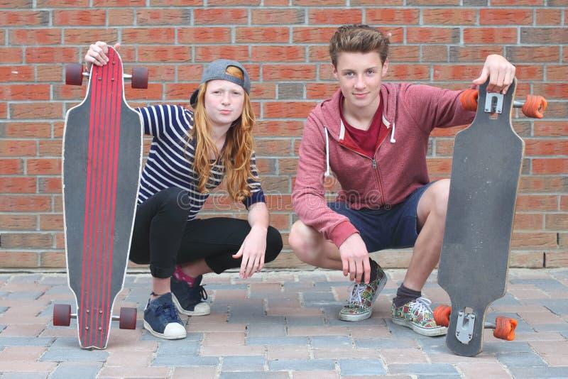 Two skateboarder stock photos