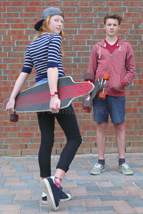 Two skateboarder royalty free stock photo