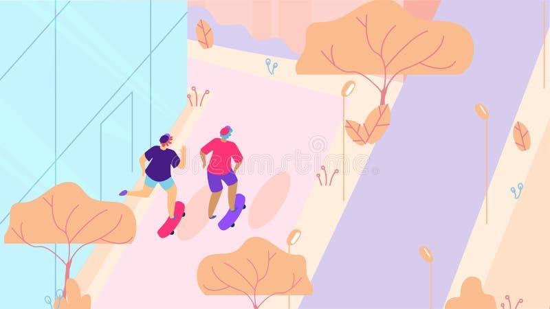 Two Skateboarders Walking on City Street Cartoon royalty free illustration