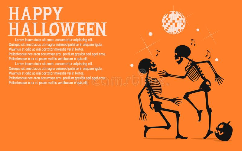 Two skeletons are dancing in the Halloween night party vector illustration