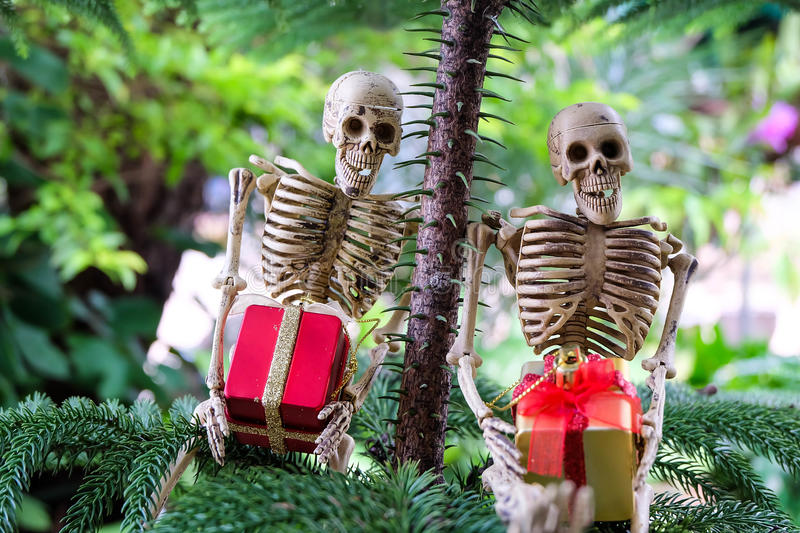 Two skeletons with gifts on hand under the tree stock photos