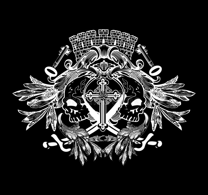 Free Two Skulls On Heraldic Shield. Royalty Free Stock Images - 6869749