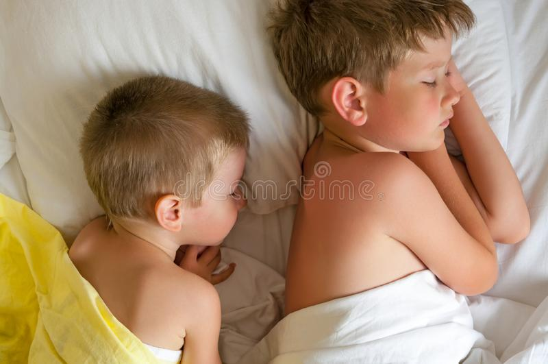 Two sleeping brothers on a bed. With white bedclothes royalty free stock images