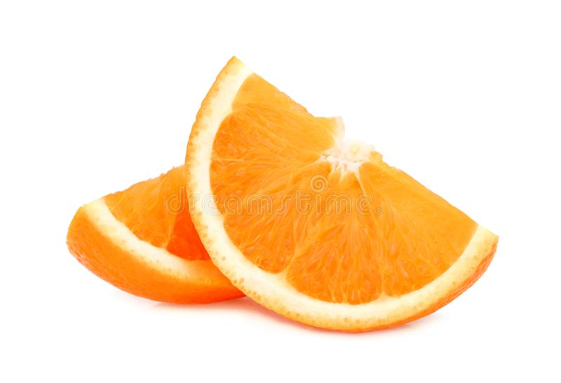 Two sliced fresh orange fruit isolated on white. Background stock photo
