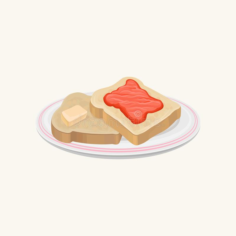Two slices of bread with butter and strawberry jam on plate. Sweet and delicious breakfast. Tasty toasts. Food concept stock illustration