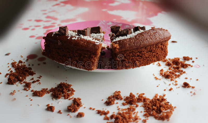 Two slices of cake on the dish royalty free stock image