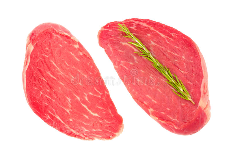 Two slices of fresh beef meat stock images