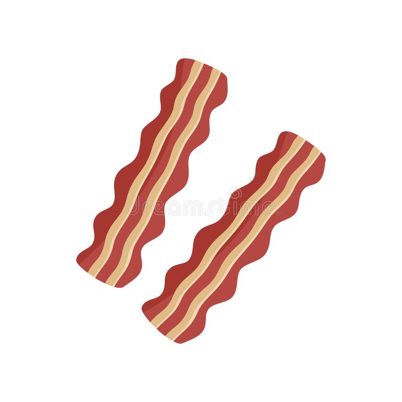 Two slices of fried bacon stock illustration