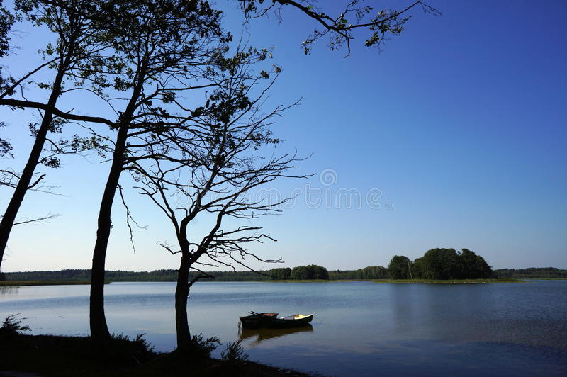 Two small boats and a dead tree by the lake at Polish Masuria district (Mazury) royalty free stock images